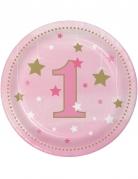 8 Petites assiettes en carton premier anniversaire One Little Star roses 18 cm
