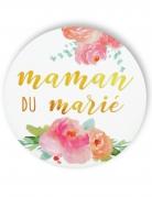 Badge épingle fleuri Maman du marié 56 mm