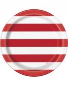 8 Assiettes en carton rayures rouge et blanc 22 cm
