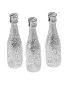 3 Marque-places Bouteille de Champagne argenté 8 x 2 cm