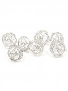 12 Boules de décoration métal argenté 2 cm