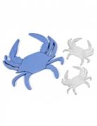 6 Crabes en bois décoratifs bleu et blanc 10 x 9 cm et 5 x 4,5 cm