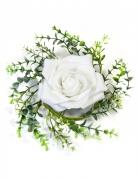 Centre de table rose et feuillage blanc 18 cm