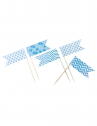 10 Mini-drapeaux fantaisie bleu 2,8 x 5 x 8 cm