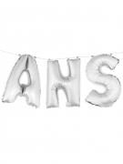 Ballons aluminium lettres ANS argentés 36 cm