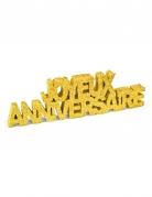 Décoration de table Joyeux Anniversaire pailleté doré 12 x 3,8 x 0,8 cm