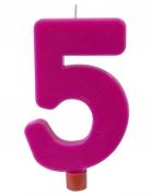 Bougie géante chiffre 5 sur pique fuchsia 13,5 x 8 cm