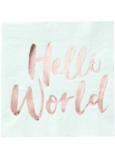 20 Serviettes en papier Hello World menthe et rose gold 33 x 33 cm