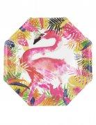 8 Assiettes en carton Flamant rose Tropical 25 cm