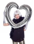 Ballon cadre en forme de coeur argent