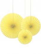 3 Rosaces décoratives jaune clair 40, 32 et 23 cm