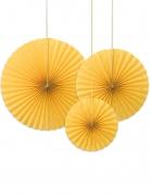3 Rosaces décoratives jaune 40, 32 et 23 cm