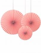 3 Rosaces décoratives rose poudré 40, 32 et 23 cm
