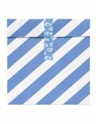 6 Sacs cadeaux rayures blanches et bleues avec autocollants 13 x 14 cm