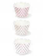 6 Habillages à cupcake en carton rose poudré 5 x 7,5 x 5 cm