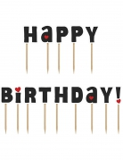 14 Décorations pour gâteau sur pique Happy Birthday 9,2 cm
