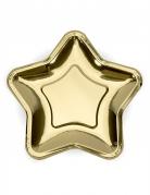 6 Petites assiettes en carton étoile métallique doré 18 cm