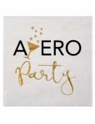 20 Petites serviettes en papier Apéro Party blanc et doré 25 x 25 cm