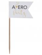 10 Pics Apéro Party blanc et doré 3,5 x 8 cm