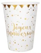 10 Gobelets en carton Joyeux Anniversaire métallisé blanc et doré 7,8 x 9,7 cm