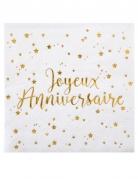 20 Petites serviettes en papier Joyeux Anniversaire métallisé blanc et doré 25 x 25 cm