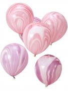 10 Ballons effet Marbre rose et violet 30 cm