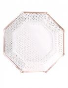 8 Assiettes en carton pois rose gold métallisé octogonale 25 cm