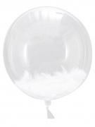 3 Ballons géants avec plumes blanches 45 cm