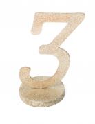 Centre de table chiffre 3 bois pailleté champagne 20 cm