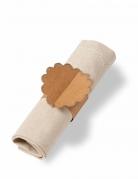 8 Ronds de serviette en feston kraft paillettés champagne 23 x 7 cm
