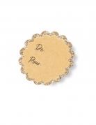 12 Etiquettes adhésives en feston kraft paillettés champagne 5,5 cm