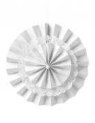 Éventail double avec dentelle blanche 26 cm