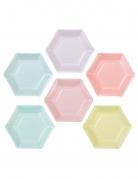 12 Petites assiettes en carton hexagonales 6 couleurs pastel 18 cm