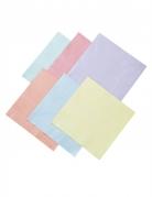 16 Serviettes en papier 6 couleurs pastels 33 x 33 cm