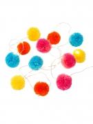 Guirlande lumineuse pompons multicolores 2 m