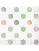 16 Petites serviettes en papier blanc à pois iridescent 25 x 25 cm