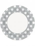 8 Assiettes en carton grises à pois blancs 23 cm