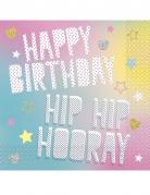 16 Serviettes en papier Happy Birthday Licorne Party 33 x 33 cm