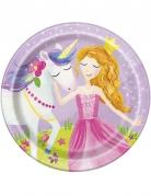 8 Petites assiettes en carton Princesse Magique 18 cm