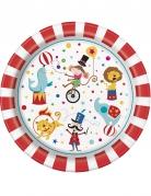 8 Assiettes en carton Cirque 23 cm