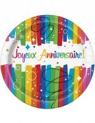8 Assiettes en carton Joyeux Anniversaire multicolores 23 cm