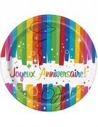 8 Petites assiettes en carton Joyeux Anniversaire multicolores 18 cm