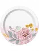 8 Petites assiettes en carton Mr & Mrs florales roses et blanches 18 cm