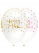 6 Ballons en latex Happy Birthday à pois rose et doré 30 cm