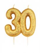 Bougie d'anniversaire sur pique 30 ans doré pailleté 7 cm