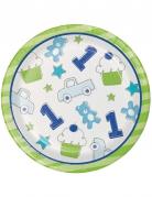 8 Petites assiettes en carton 1er anniversaire bleu 18 cm
