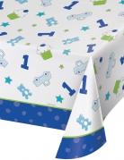 Nappe en plastique 1er anniversaire bleu 137 x 259 cm
