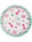 8 Petites assiettes en carton 1er anniversaire rose 18 cm