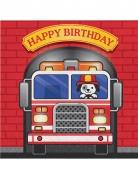 16 Serviettes en papier Happy Birthday Camion de Pompier 33 x 33 cm