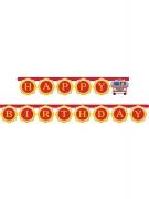 Guirlande en carton Happy Birthday Camion de Pompier 3m